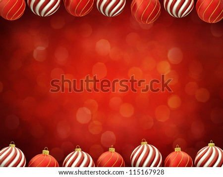 Christmas baubles frame on red defocused background , center copyspace