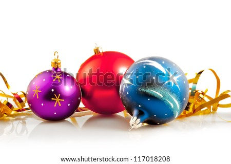 Christmas Baubles & Gold Ribbons - stock photo