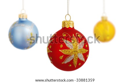 Christmas baubles isolated on a white