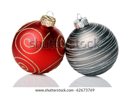 Christmas baubles, isolated on a white background - stock photo