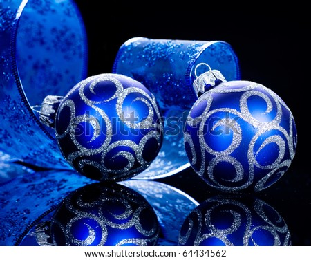 Christmas Baubles isolated on Black - stock photo