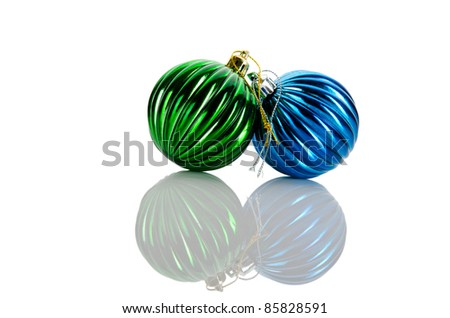 Christmas baubles isolated on the white