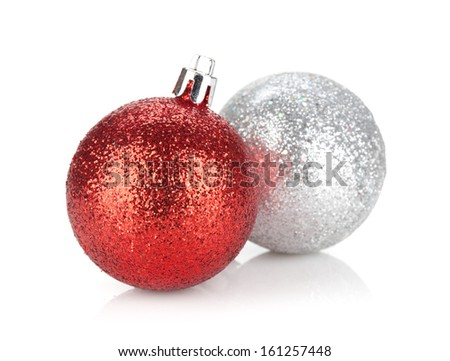 Christmas baubles. Isolated on white background - stock photo