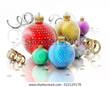 Christmas baubles isolated on white background.