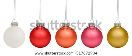 Christmas baubles isolated on white background