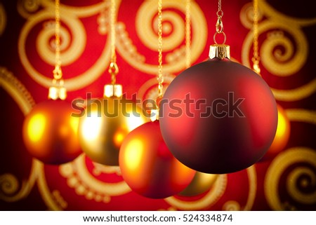 Christmas baubles on abstract background