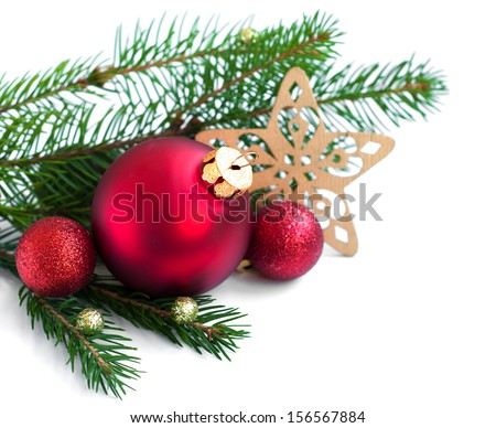 Christmas Baubles with christmas-tree branch  on a white background - stock photo