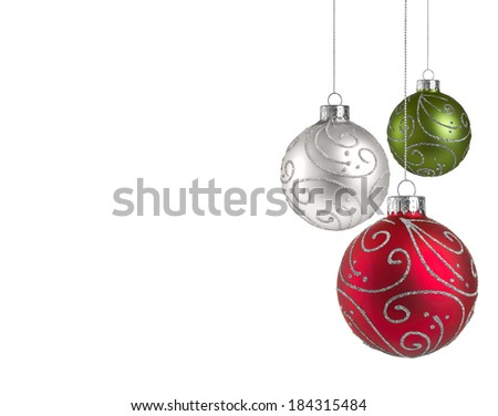 Christmas baubles with copy space - stock photo