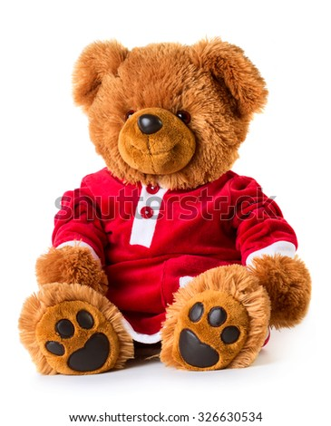 Christmas bear dressed like a girl. White background, isolated