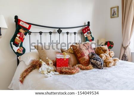 Christmas bedroom - stock photo