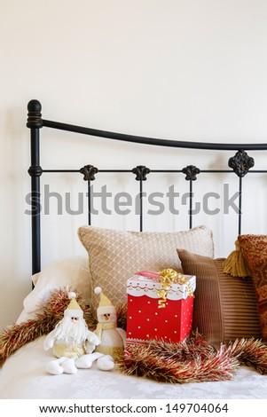 Christmas bedroom copyspace - stock photo