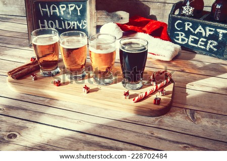 Christmas Beer Flight - stock photo
