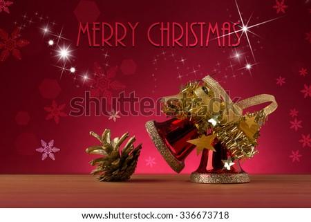 Christmas bell and christmas decoration - stock photo