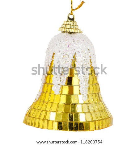 Christmas bell decoration isolated on white background.