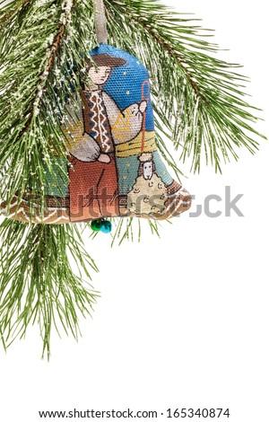 Christmas bell, Handmade decoration, Ukrainian souvenir - stock photo