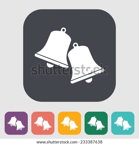 Christmas bell. Single flat icon on the button.  illustration. - stock photo