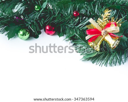 Christmas bell with decoration on white background