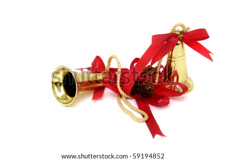 Christmas bells against a white background