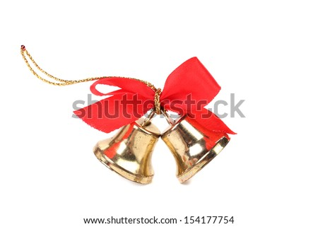 Christmas Bells and bow on a white background - stock photo