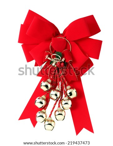 Christmas Bells and ribbon with white background