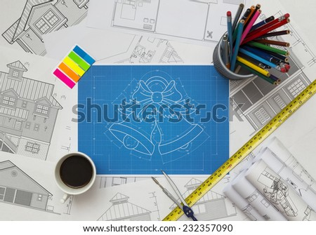 Christmas Bells Blueprint - stock photo