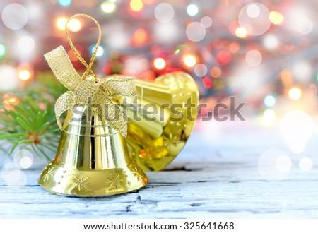 Christmas bells decorations, stylized image - stock photo
