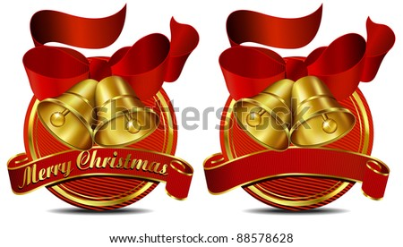 Christmas Bells Web Banner Red - Raster Version - A vector version of this file is also available - stock photo