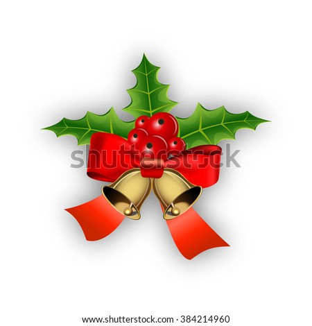 Christmas bells with holly and bow Raster version - stock photo