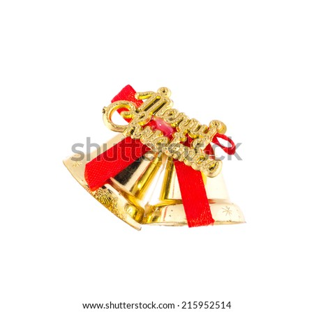 christmas bells with red ribbon. Isolated on a white background.  - stock photo