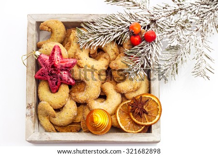 Christmas biscuits, Almond cookies in wood bowl - stock photo