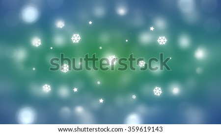 Christmas blue and green background. The winter background, falling snowflakes