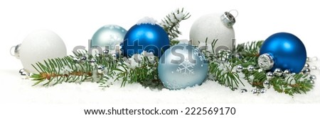 Christmas blue and silver balls, selective focus. Panoramic image. - stock photo