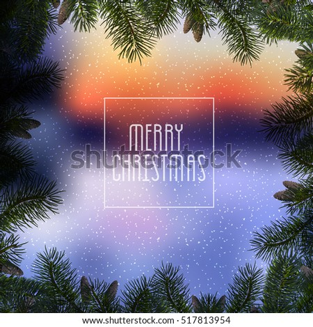 Christmas blue background with christmas tree branches and snow