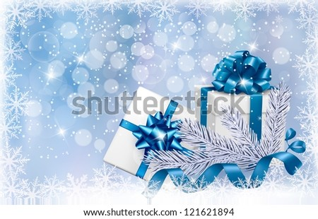Christmas blue background with gift boxes and snowflake. Raster version of vector