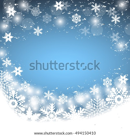 Christmas blue background, with snowflakes