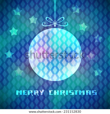 Christmas blue background with sparkling decoration, stars, greeting. Original elegant poster. Abstract decorative color illustration in disco geometric style for print, web - stock photo