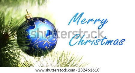 Christmas blue ball on fir branches - stock photo