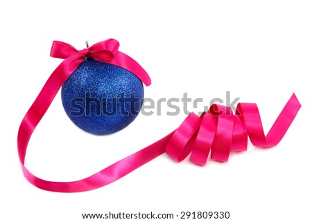 Christmas blue ball with holiday pink ribbon isolated on white background. - stock photo