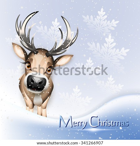 Christmas blue card with cute reindeer over snow