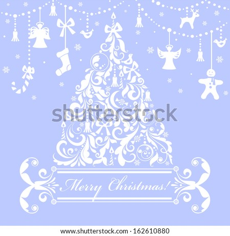 Christmas blue greeting card. Raster copy - stock photo