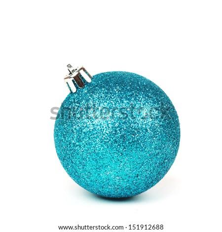 Christmas blue shine bauble - stock photo