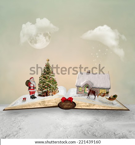 Christmas book - stock photo