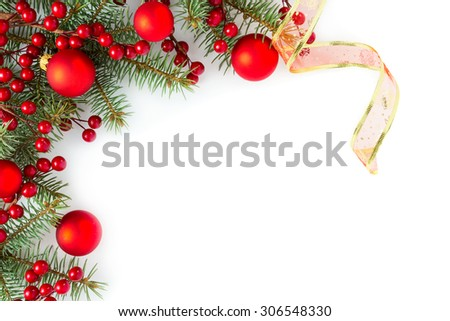 Christmas border: branches of fir tree with decoration - stock photo