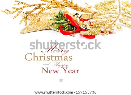 Christmas Border Decoration Isolated on White Background. Festive Golden Decorations  (with easy removable sample text) - stock photo