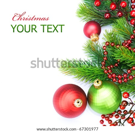 Christmas Border Decorations over white - stock photo