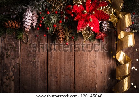 Christmas border design with red and gold baubles - stock photo