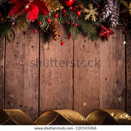 Christmas border design with red and gold baubles