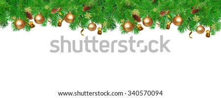 Christmas border for You website. Green Fir tree branches with serpentine, pine cones,  snowflakes and gold ball. Isolated on white. - stock photo