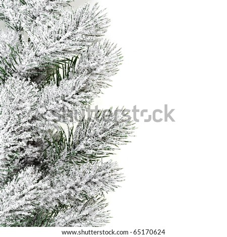 Christmas Border frame of green snow branch on white - stock photo