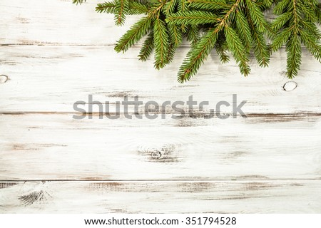 Christmas border from christmas tree useful as christmas decoration. - stock photo